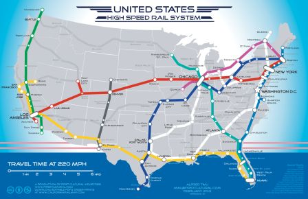 High Speed Rail Map in the U.S.A. (Proposed)